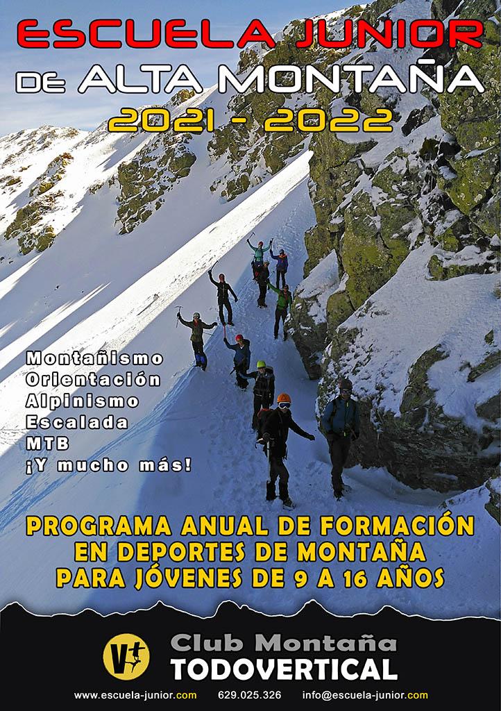 La Escuela Junior de Alta Montaña del Club TODOVERTICAL comienza su decimotercer año de andadura. Contaremos con actividades casi todos los sábados de cada mes desde Septiembre 2021 hasta Junio 2022 + Información: www.escuela-junior.com